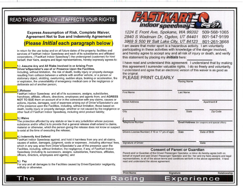 downloadable forms fastkart speedway