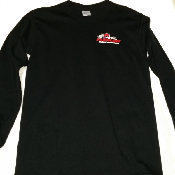 F003 MES LONG SLEEVE FASTKART BLACK SHIRT FRONT
