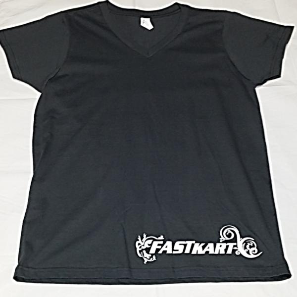 F008 Womens Grey V-Neck T-Shirt